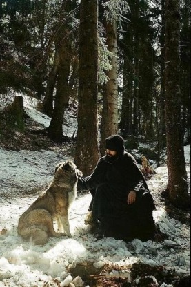 Orthodox Monk with Animal 1